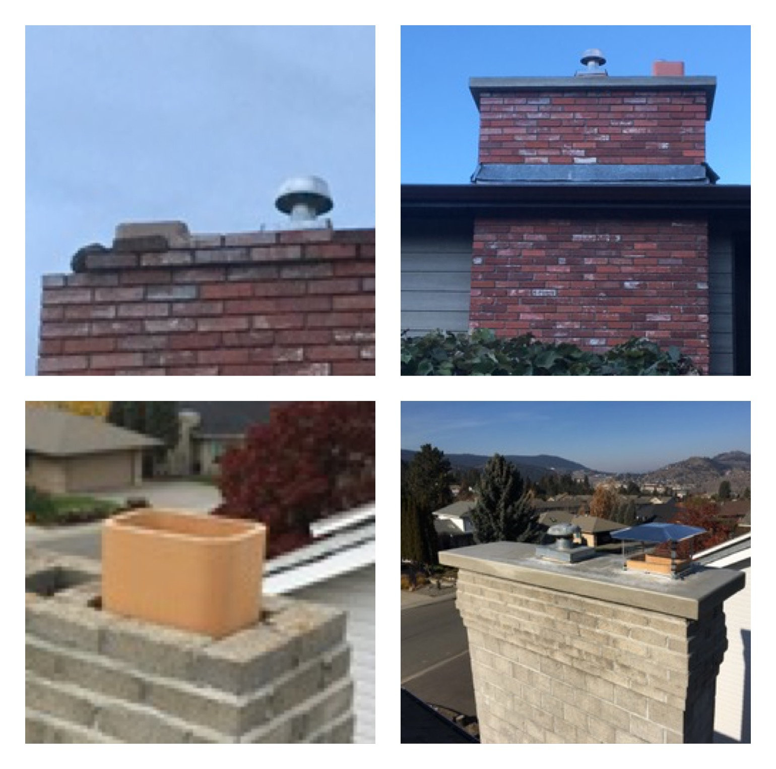 Two residential chimneys before and after showing crumbling masonry before a cement cap was poured to prevent moisture from entering the roof. and chimney.